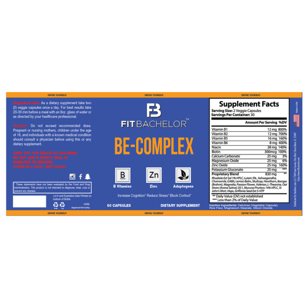 Fit Bachelor Be-Complex Nutrition Label