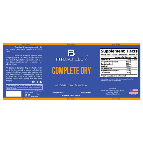 Fit Bachelor Complete Dry Nutrition Label