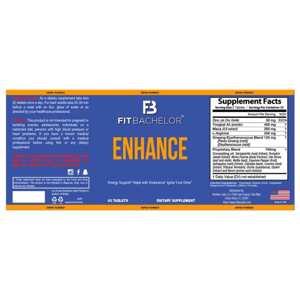 Fit Bachelor Enhance Nutrition Label