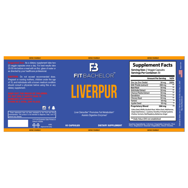 Fit Bachelor LiverPur Nutrition Label
