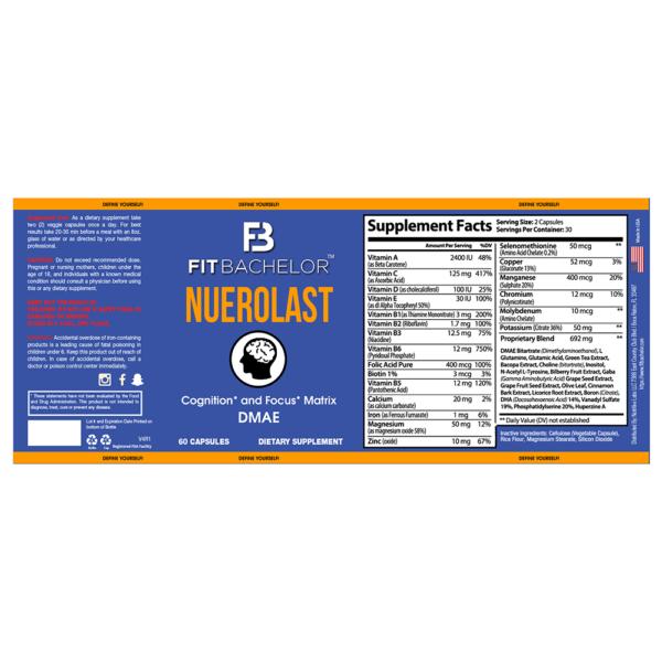 Fit Bachelor Neurolast Nutrition Label