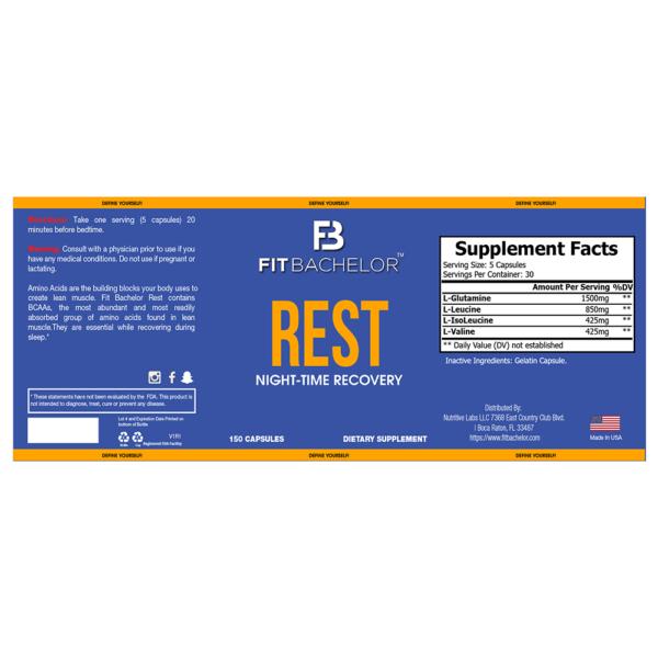 Fit Bachelor Rest Nutrition Label