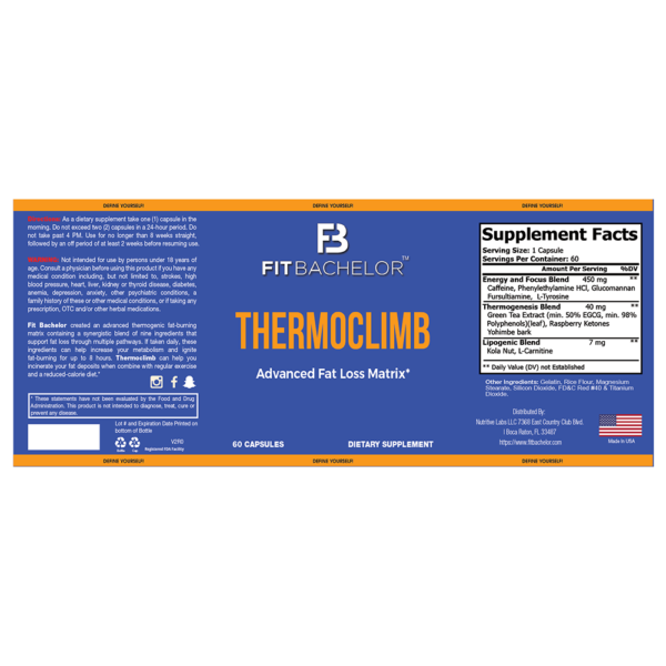 Fit Bachelor Thermoclimb Nutrition Label