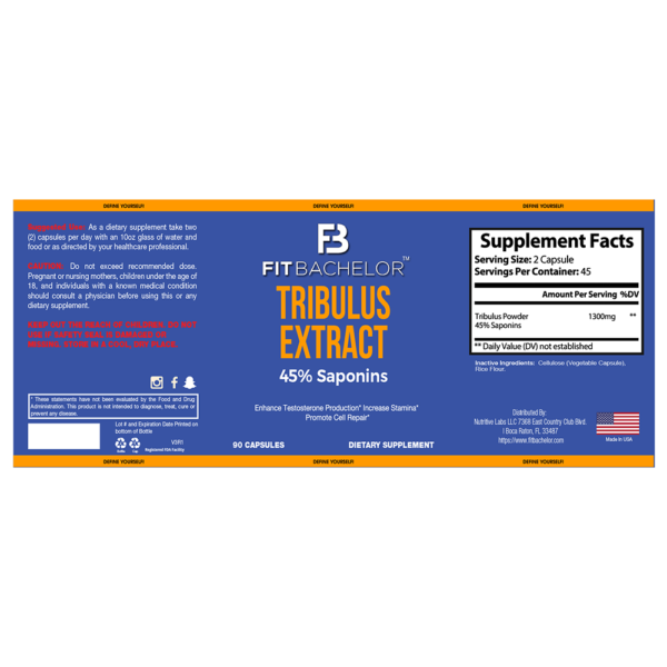 Fit Bachelor Tribulus Extract Nutrition Label